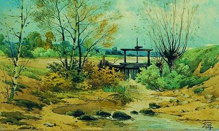 10: Emile GALLOIS (1882-1965) L' hiver Aquarelle, signé