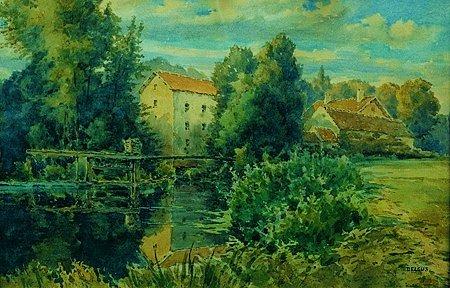 12: DELCUS Paysages Ensemble de cinq aquarelles, signée