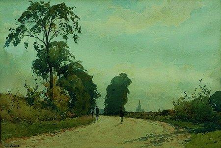 13: Paul LECOMTE (1842-1920) Sur le chemin Aquarelle, s
