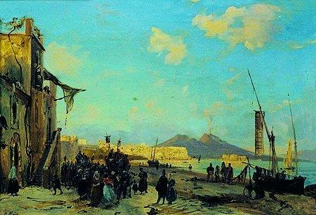 20: P. HOR Scène animée à Naples Huile sur toile, signé
