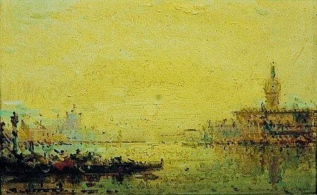 22: Jean Etienne KARNEC (1865-1934) Vue de Venise Huile