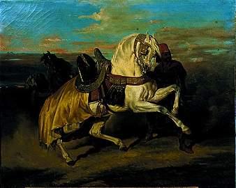 52: Ecole Fran�aise du XIX� si�cle Cheval arabe cabr� e