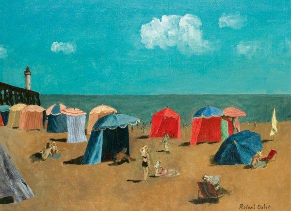 16: Roland OUDOT (1897-1981) * La plage de Trouville, H