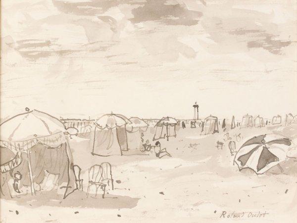 17: Roland OUDOT (1897-1981) * La plage de Trouville, L