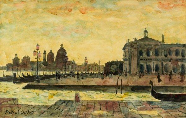 18: Roland OUDOT (1897-1981) * Le soir à Venise, Aquare