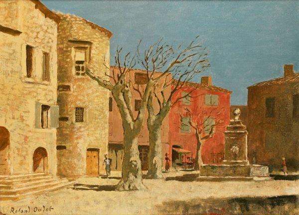 21: Roland OUDOT (1897-1981) * La place à Gordes, Huile