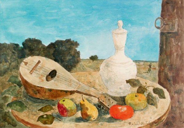 24: Roland OUDOT (1897-1981) * Mandoline et fruits, Aqu