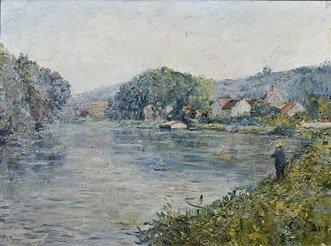 4: CLARY BAROUX Bord de rivière Huile sur toile, signée
