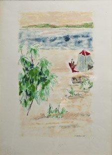 10: JULES CAVAILLES (1901-1977) La Plage Aquarelle et g