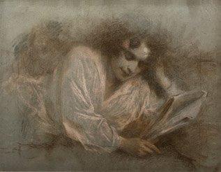 23: LUCIEN LEVY-DHURMER (1865-1953) La lecture Pastel 4