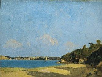 24: PAUL LECOMTE (1842-1920) Bord de mer Huile sur cart