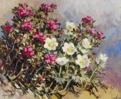 2: Marcel WIBAULT (1904-1998) Anémones et Rhodendrons H