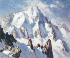 4: Marcel WIBAULT (1904-1998) Aiguilles de Chamonix Hui