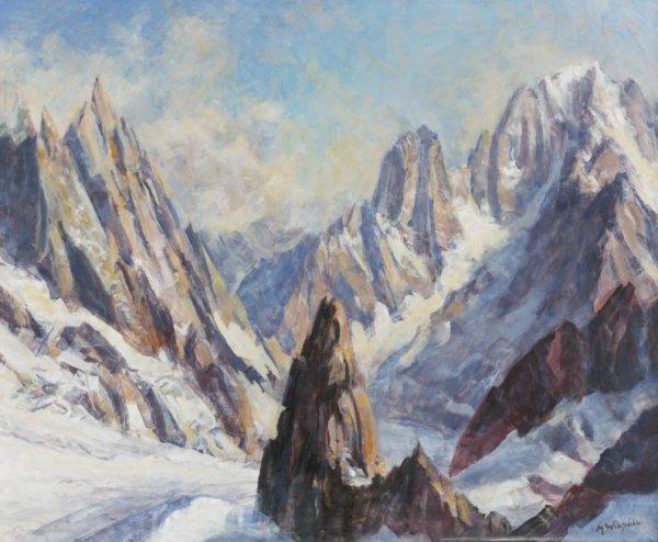 7: Marcel WIBAULT (1904-1998) La vallée Blanche Huile s