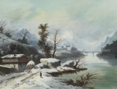 8: École du XIXE Route animée sous la neige, bord de ri