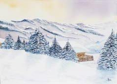 9: A. BOYE (XIXE-XXE) Chalet sous la neige Aquarelle, s