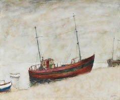 12: Bernard GANTNER (né en 1928) Bateau de pêche Huile