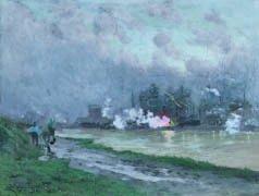 13: Émile CAGNIART (1851-1911) A l'usine Huile sur toil