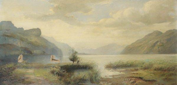14: Jean-Marie REIGNIER (1815-1886) Paysage au lac de m