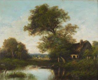 18: Jules DUPRÉ (1811-1889) Au bord de l'étang Huile su