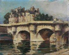 20: École française du XXE Vue du Pont neuf Huile sur t
