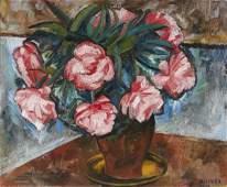 48 Isis KISCHKA 19081973 Bouquet de pivoines Huile