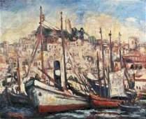 155: S.YANG (XXE) Le port Huile sur toile, sign�e en ba