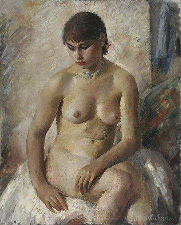 1002: Vera ROCKLINE (1896-1934) Nu assis au collier ble