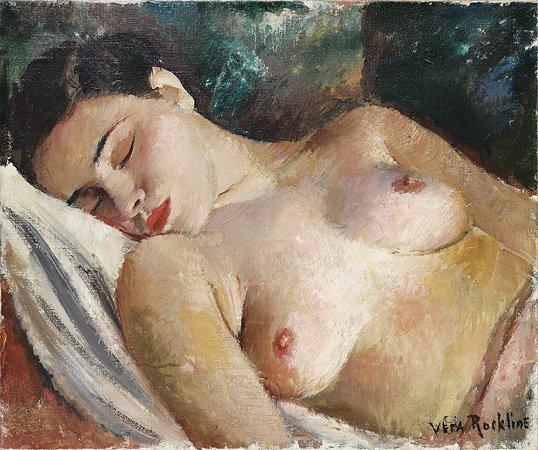 1003: Vera ROCKLINE (1896-1934) Modèle assoupi Huile su