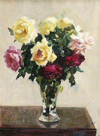 1008: Georges LAPCHINE (1885-1951) Bouquet de roses Hui