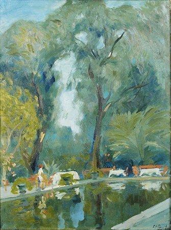 1018: Elie-Anatole PAVIL (1873-1948) Au bord du bassin