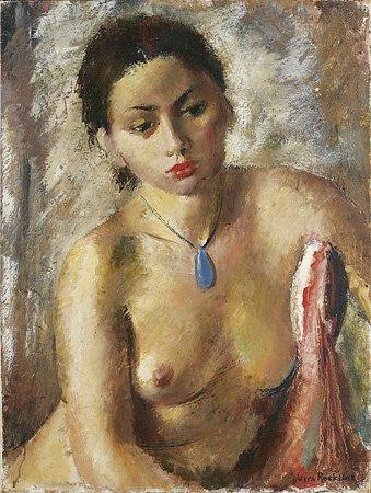 1020: Vera ROCKLINE (1896-1934) Nu au pendentif bleu Hu