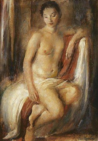 1022: Vera ROCKLINE (1896-1934) Nu au drapé Huile sur t