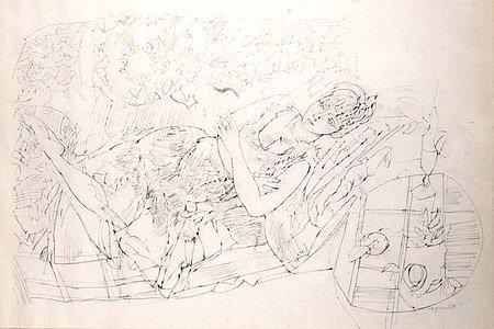 12: Raymond Jean LEGUEULT (1898-1971)* Femme au jardin