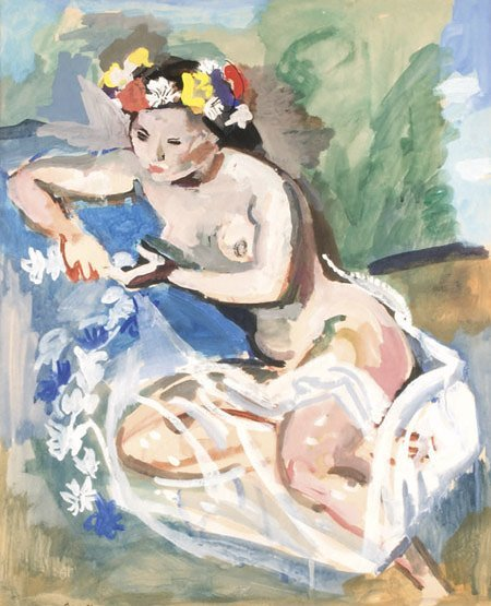 21: André PLANSON (1898-1981)* Modèle aux fleurs Aquare