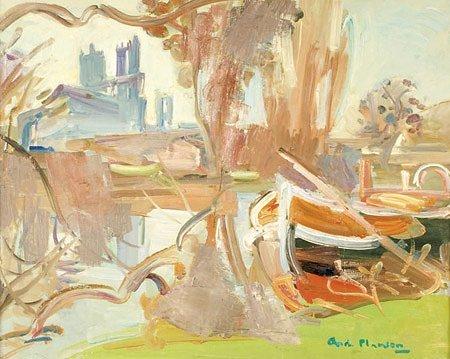 26: André PLANSON (1898-1981)* Les barques Huile sur to