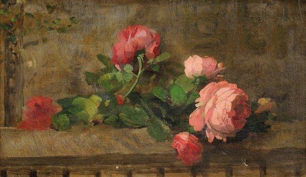 1: Ernest QUOST (1844-1931)  Jeté de roses  Huile sur t