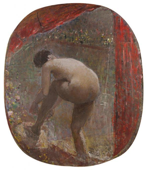 2: Ernest QUOST (1844-1931)  Le rideau rouge  Huile sur