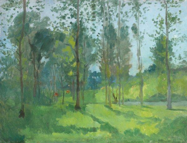 3: Ernest QUOST (1844-1931)  Paysage  Huile sur toile,