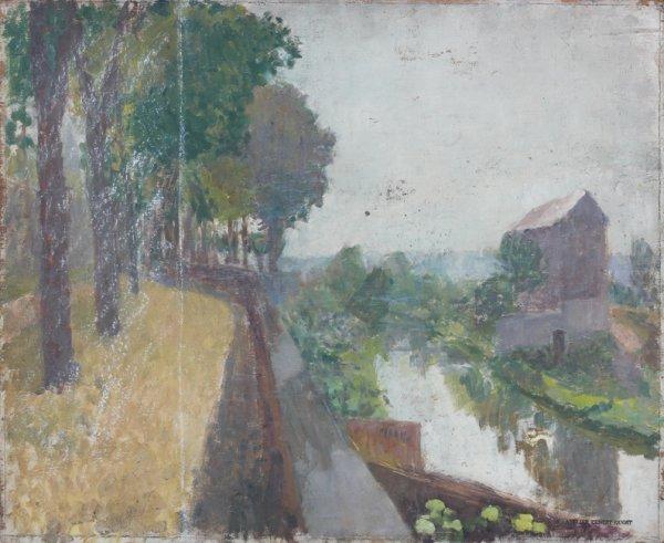 4: Ernest QUOST (1844-1931)  Paysage  Huile sur bois, s