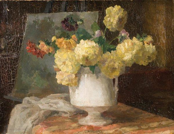5: Ernest QUOST (1844-1931)  Bouquet de fleurs   Huile