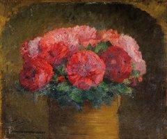 6: Ernest QUOST (1844-1931)  Bouquet de pivoines  Huile
