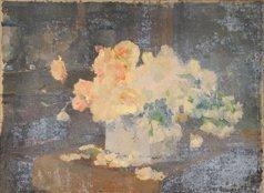 7: Ernest QUOST (1844-1931)  Bouquet de roses  Huile su