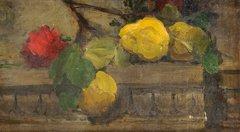 10: Ernest QUOST (1844-1931)  Fruits sur un entablement