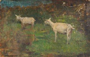 11: Ernest QUOST (1844-1931)  Les chèvres  Huile sur to