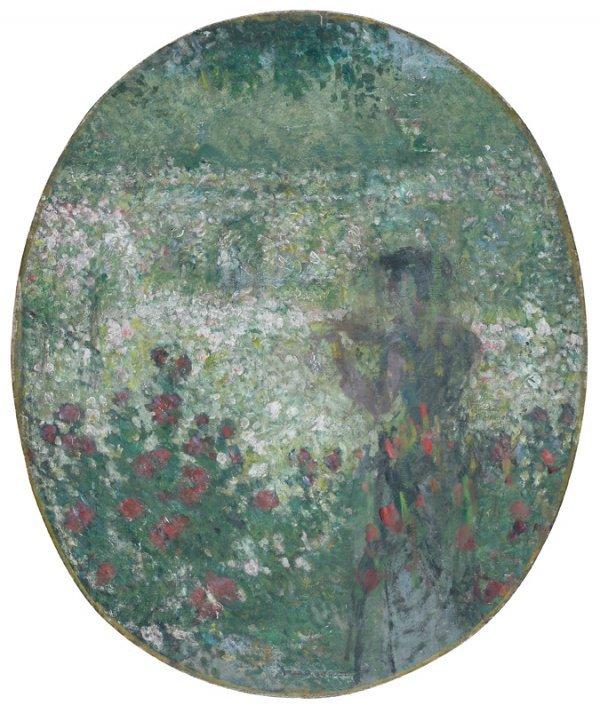 13: Ernest QUOST (1844-1931)  Au jardin  Huile sur toil