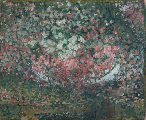 14: Ernest QUOST (1844-1931)  Le jardin  Huile sur toil