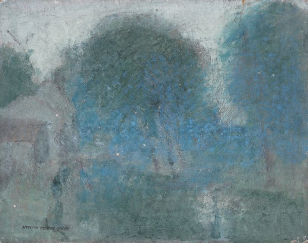 15: Ernest QUOST (1844-1931)  Paysage  Huile sur carton