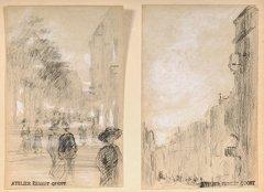 16: Ernest QUOST (1844-1931)  Scènes de rue et paysages