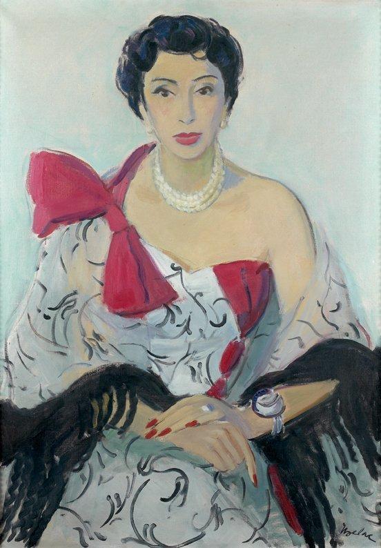 203: Milivoy UZELAC (1897-1950) Élégante au noeud rose